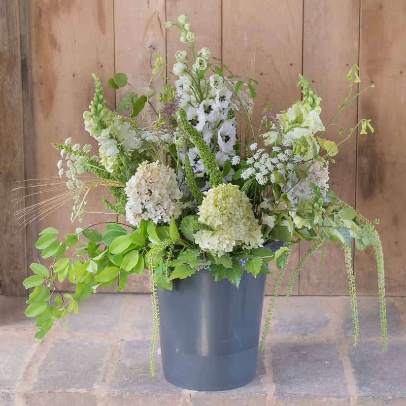 DIY green bouquet in a bucket