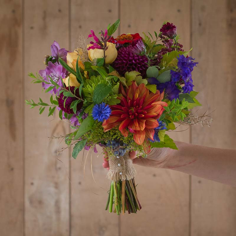 Flower girl's posy of English flowers